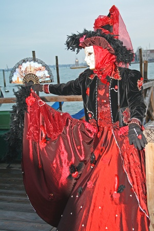 VENICE, ITALY - MARCH 3 2011: Detail of unidentified masked person standing in front of the port in Venice, Italy, on 3 March during popular Venice carnival (held on 26 February - 8 March 2011). Stock Photo - 10911885