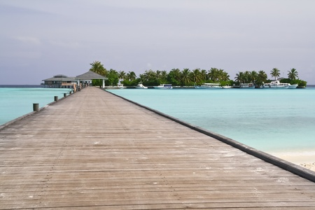 Pier at the tropical island, Maldives Stock Photo