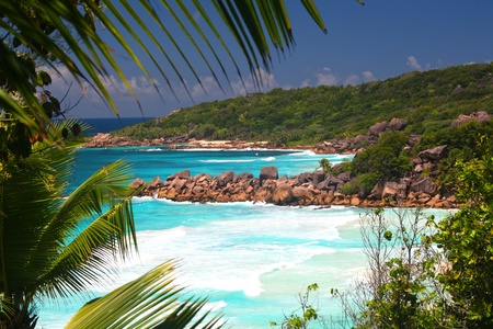 Tropical beaches Petit Anse and Grand Anse, La Digue