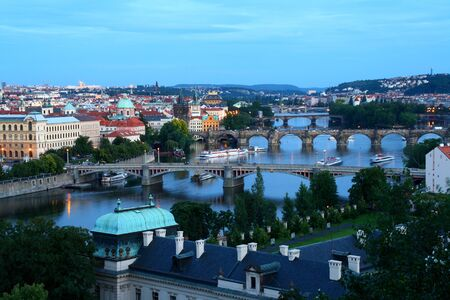 Twilight picture of Prague skyline  photo