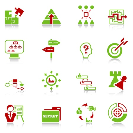 Business strategy icons - green-red series Stock Vector - 12496177