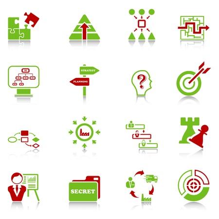Business administration: Los iconos de la estrategia de negocio - verde-rojo de la serie