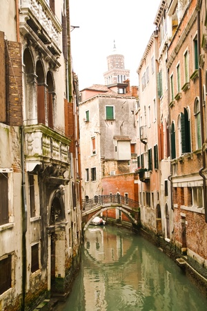 Bridge over small canal in Venice, Italy