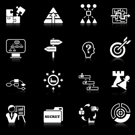 administration: Business strategy icons - black series