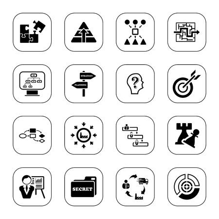 Icônes stratégie d'entreprise - BW série Vecteurs