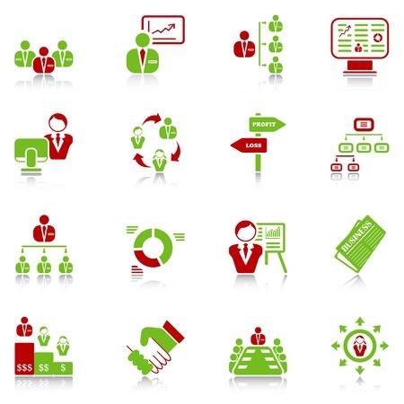 governance: Beheer iconen met reflectie, groen-rode reeks Stock Illustratie