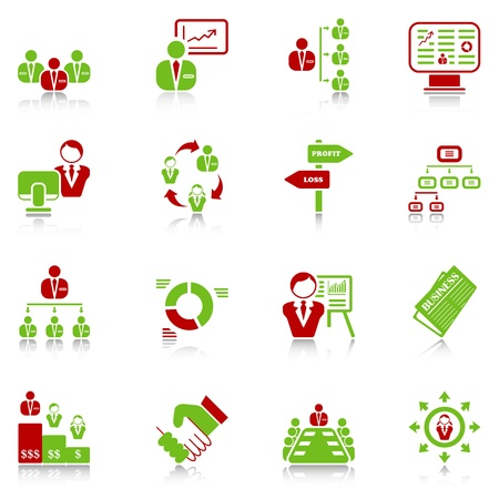 Management icons with reflection, green-red series Vector