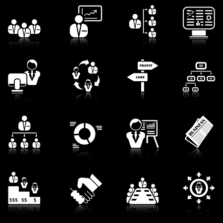 supervision: Management icons with reflection, black series