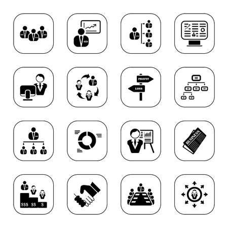 Management icons, BW series Vector Illustration