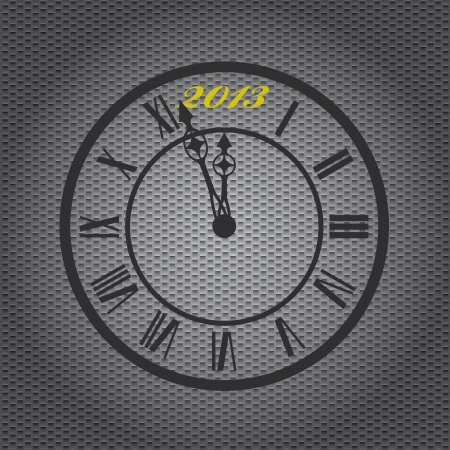 Old-fashioned clock with 2013 mark on metal sheet background Stock Vector - 15506363