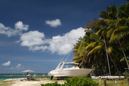 Tropical beach with boat and palms, Mauritius