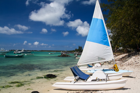 Tropical beach with boats, Mauritius