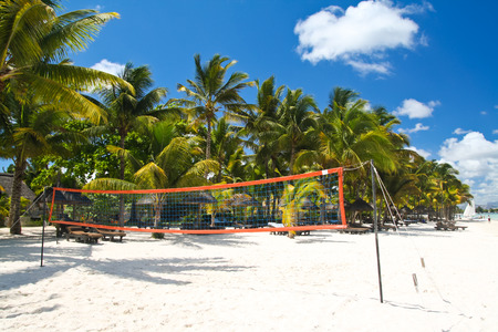 Tropical beach with volleyball net, Mauritius