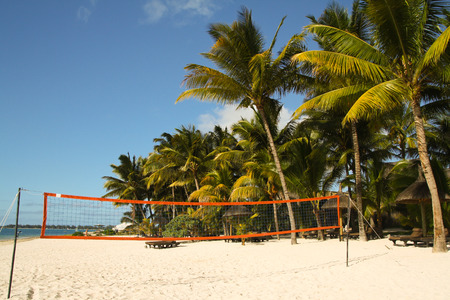 Volleyball court under palm trees at the tropical beach, Mauritius Stock Photo