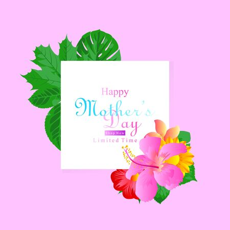 happy mother day sale limited time background with flower and leaf frame for social media promotion and advertisement