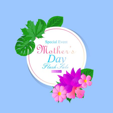 background vector special event mother day flash sale with flower and leaf frame for social media advertisement and pos promotion