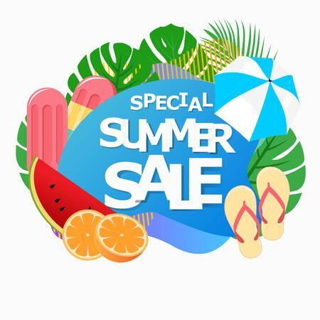 vector illustration summer sale banner promotion with tropical floral frame and fruit design