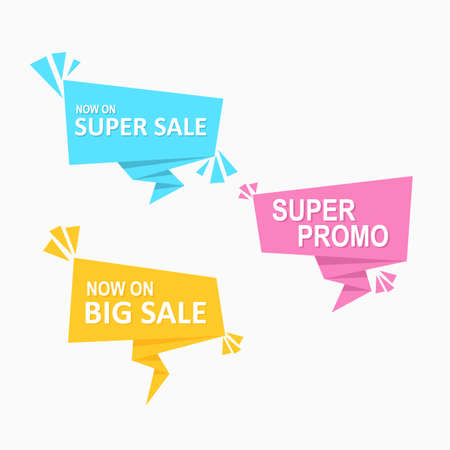 modern price tag origami colorful speech bubbles flat label promotion and advertisement design