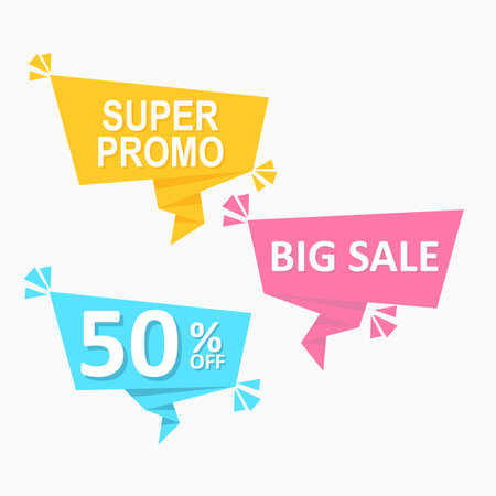 set of colorful speech bubbles flat label geometric price tag promotion Vectores