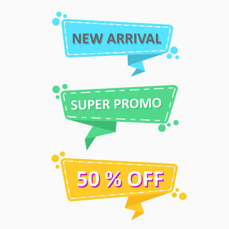 modern abstract set of discount labels with flat design for promotion and advertisement