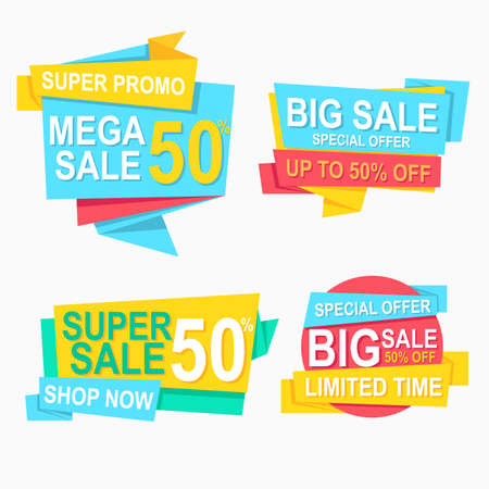 abstract geometric flat label origami and price tag promotion for advertisement