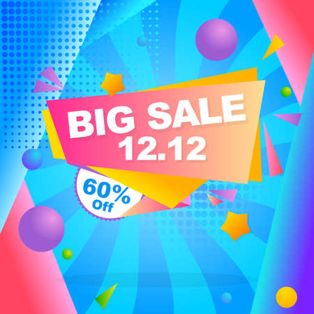 big sale banner promotion with abstract flat ribbon design