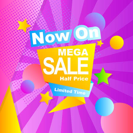 vector illustration mega sale banner promotion with abstract label ribbon design 向量圖像