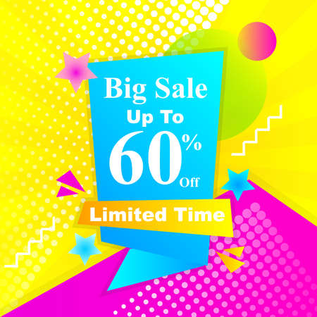 illustration of a sale banner promotion design with abstract label ribbon