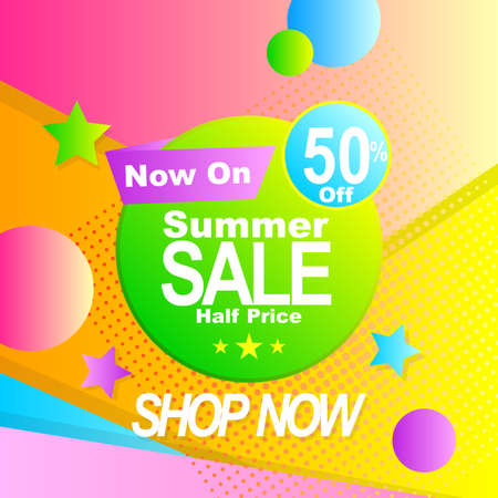 vector illustration sale banner promotion with abstract shape and gradient color  イラスト・ベクター素材