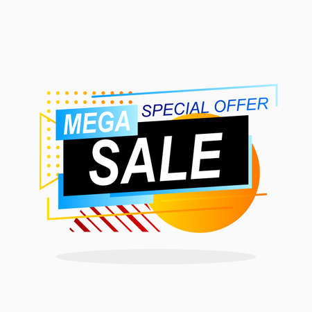 mega sale promotion banner with abstract geometric shape design 向量圖像