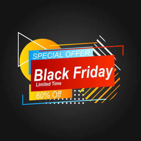 illustration of a label promotion black friday with geometric shape