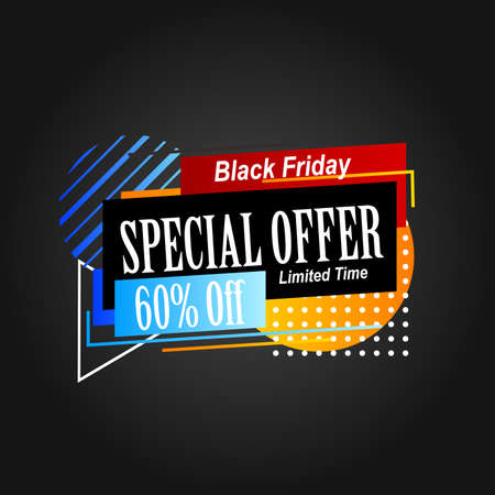 abstract geometric sale label promotion for black friday banner advertisement 向量圖像