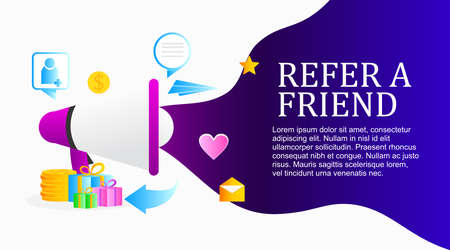refer a friend poster promotion design with gradient color
