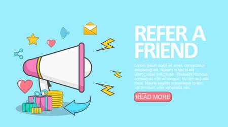 illustration of a megaphone for refer a friend program