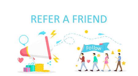 vector illustration refer a friend program promotion wit flat design concept for social network Ilustrace