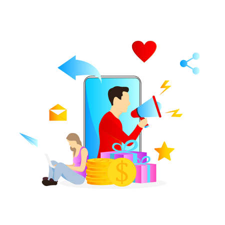man and woman vector illustration with megaphone and flat design concept for refer a friend program social media