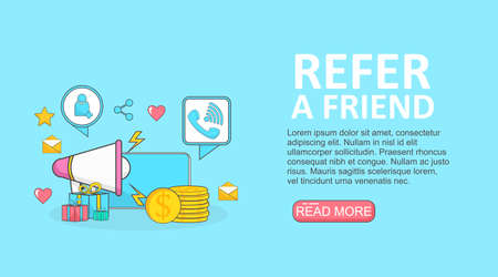 phone with social media icons poster illustration for referral program marketing