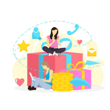 illustration of a woman for refer a friend program promotion