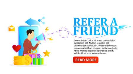 vector illustration man with megaphone for refer a friend program promotion