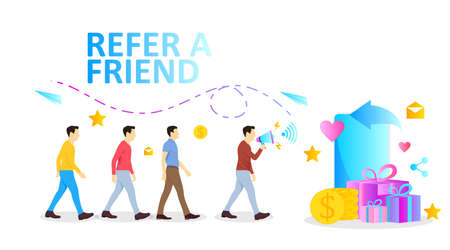 refer a friend banner illustration with man and megaphone for social media network