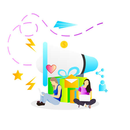referral program vector illustration with woman and megaphone for marketing banner promotion