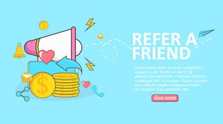 vector illustration megaphone with flat design concept for referral program banner promotion Ilustrace