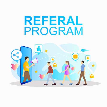 social network concept program refer a friend promotion Ilustrace