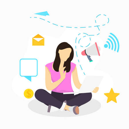 woman with laptop vector flat illustration for refer a friend social media promotion program 向量圖像