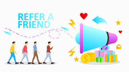 refer a friend vector illustration with megaphone and icon set for program promotion social media