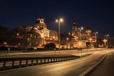 A night view city Szczecin, Poland 版權商用圖片