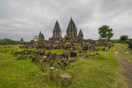 prambanan: A scenic view of the Prambanan temple in Indonesia
