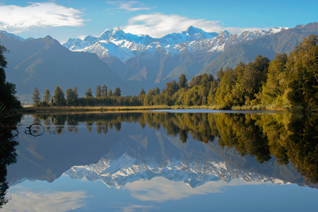 Scenic view of the mountain reflection in the lake - New Zealand landscape