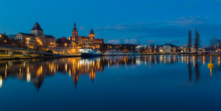 intrepid: A panoramic view of the town Szczecin in Poland Stock Photo