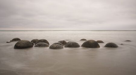 seaview: A New Zealand panoramic landscape of the meoraki boulders sea-view